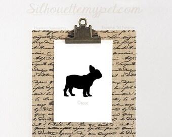 Hand-cut French Bulldog Silhouette (Unframed) Variety of Sizes Available -  dog art, dog portrait, Original Design:DOG-FBD03