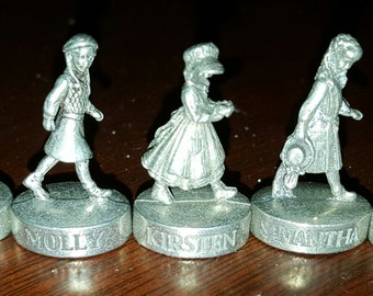 American Girl Pewter Tokens, 5 Tokens from American Girl Board Game, Molly, Kirsten, Samantha, Josefina and Addy