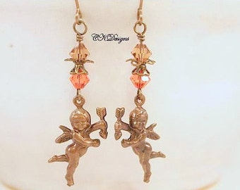 SALE Victorian Cherub Earrings, Brass, Swarovski Crystals, Dangle Pierced Earrings or Non Pierced, OOAK Handmade Earrings. CKDesigns.us