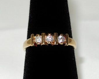 Zirconinian Ring Size 7 Gold Tone NOS