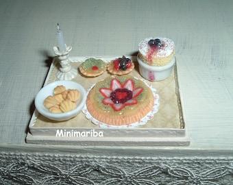 Miniature Desserts tray - dollhouse size
