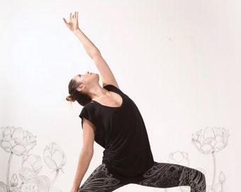 YOGA Leggings by Carousel Ink - Black Tights - Printed Womens Legging - YOGA - activewear