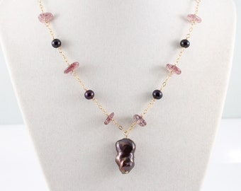 Pearl and lepidocrocite necklace, aubergine, large freshwater baroque, plum, purple, gold: by Simply Adorned