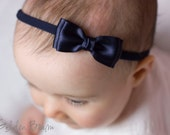 Navy Olivia Baby Bow Headband - Flower Girl Headband - Girls Headband - Navy Olivia Satin Bow Handmade Headband - Baby to Adult Headband