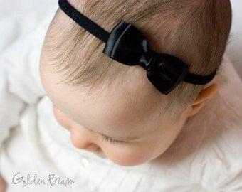 Black Olivia Baby Bow Headband - Flower Girl Headband - Girls Headband - Black Olivia Satin Bow Handmade Headband - Baby to Adult Headband