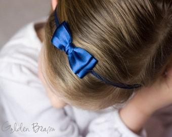 Midnight Blue Olivia Baby Bow Headband - Girls Headband - Midnight Blue Olivia Satin Bow Handmade Headband - Baby to Adult Headband