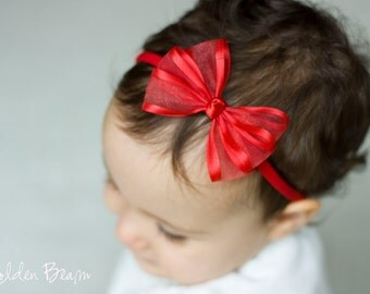 Red Baby Bow - Flower Girl Headband - Red Organza Satin Edge Bow Baby Handmade Headband - Fits from babies to Adults