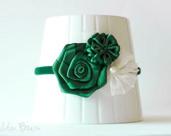 Flower Girl Headband -  Three Forest Green and Ivory Flowers Bouquet Handmade Headband
