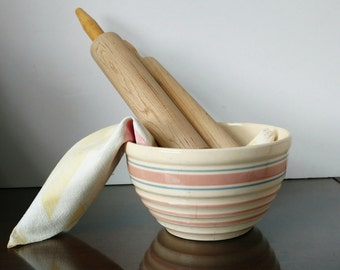 Vintage McCoy Ribbed Mixing Bowl Pink Blue Stripes