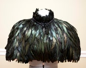 Black Iridescent Feather Capelet High Collar with frog clip