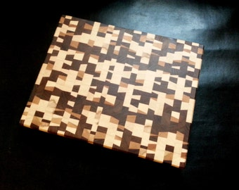 Random Pattern Walnut Cherry Maple End Grain Butcher Block Cutting Board