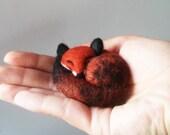 Sleepy little grey fox , Felted Animal Pin, Fox Jewelry