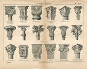 1800s Architectural Print Styles of 19th Century Capitals,  Antique Engraving