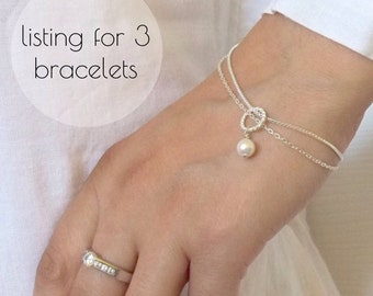 Set of 3 Bridesmaids Pearl Bracelet , Swarovski Pearl Bracelet, Gift Jewelry maid of honour Mother of the bride,  Pearl jewelry