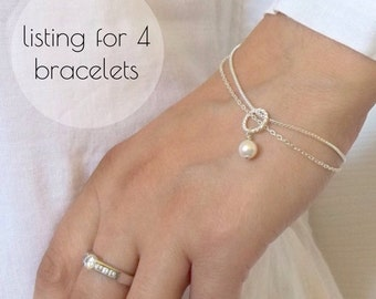Set of 4 Bridesmaids Pearl Bracelet , Swarovski Pearl Bracelet, Gift Jewelry maid of honour Mother of the bride,  Pearl jewelry