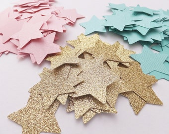 TwinkleTwinkle Little STAR Confetti ~ 100 Pieces ~ Baby Shower ~ Birthday Table Scatter ~ Light Pink or Mint & Gold Glitter