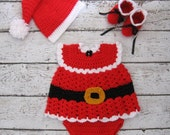 Newborn Christmas Outfit Christmas Baby Dress Set Crochet Baby Girl Santa Claus Set Santa Claus Dress Set Baby Girl Santa knit outfit