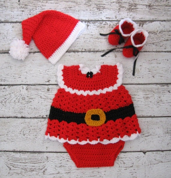 Crochet Baby Outfit Pattern : Newborn Christmas Outfit Christmas Baby Dress Set Crochet Baby