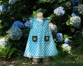 Girl's Sleeveless A Line Dress, Light Blue Polka Dot Dress, Size 1 Toddler Dress, Handmade Children's Wear, Spring Summer Girls Dress