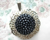 Antique Button Pendant - Dark Charcoal Gray Glass Beaded Button