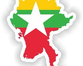 Burma Map Flag Silhouette Sticker for Laptop Book Fridge Guitar Motorcycle Helmet ToolBox Door PC Boat