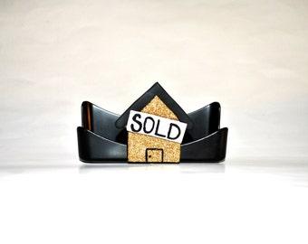 Realtor business card holder. Glitter.  Real estate business. Home Sold. Realtor.  Glitter card holder.  Bling