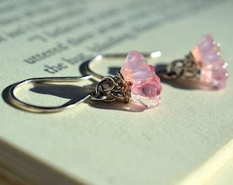 Pink Glass Flower Earrings on Sterling, Pink Cluster Earrings, Blush Pink, Czech Glass Earrings Spring Pink Earrings Flower Cluster Earrings