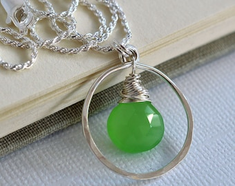 Apple Green Necklace, Green Chalcedony Necklace, Sterling Silver Necklace, Silver Circle Necklace, Lime Green Necklace, Green Gemstone