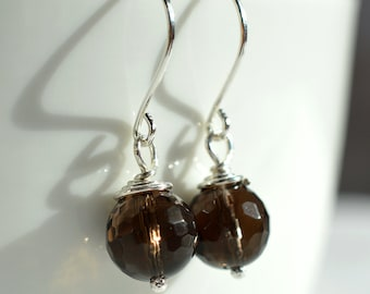Smoky Quartz Earrings, Sterling Wire Wrapped Earrings, Dark Brown Earrings, Brown Gemstone Earrings, Neutral Earrings, Faceted Gemstone Bead