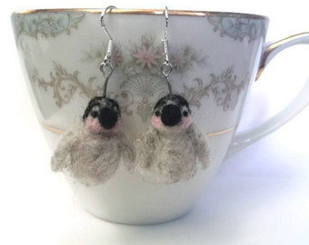 Adorable Miniature Penguin Chick Needle Felted Earrings with Silver Hooks