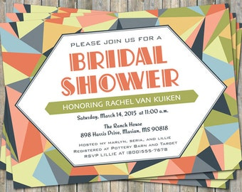 Colorful Geometric Bridal Shower invitation, Modern, printable, digital file