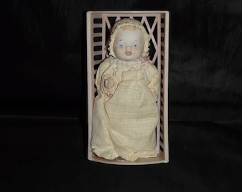 Vintage Shackman Antique Bisque Baby Doll Replica With Clothes Dress Bonnet Made in Japan