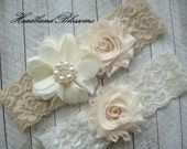 IVORY BEIGE Bridal Garter Set - Ivory Keepsake and Toss Wedding Garters - Chiffon Flower Rhinestone Garter - Vintage Lace Garter - Garder
