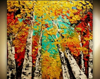 Sale Original  abstract Oil  Autumn colors gallery canvas  palette knife floral impasto Birch Trees painting by Nicolette Vaughan Horner