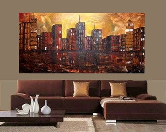 Sale XLarge 4ft x 2ft  -Original Contemporary   oil/acrylic  modern  abstract Cityscape  painting by Nicolette Vaughan Horner