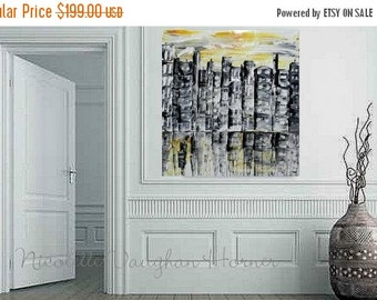 """ORIGINAL 24"""" x 24""""  Abstract Acrylic gallery canvas-Contemporary Cityscape shades of grays/gold Oil painting by Nicolette Vaughan Horner"""
