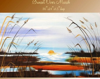 """Large ORIGINAL Abstract Art,Landscape,textured  gallery canvas painting by Nicolette Vaughan Horner 36"""" by 24"""""""