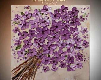 Original  abstract contemporary gallery canvas  palette knife floral painting  Purple Please  by Nicolette Vaughan Horner
