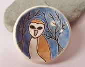 Ceramic Pottery Barn Owl and Moon Dish Bowl, British Wildlife, Owl Home Decor, Offering Bowl, Ring Dish, Trinket Dish, Tea Light Holder