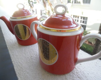 GREEK KEY For TEA / Fine China Cinnabar Colored Lidded Cream And Sugar / Made In Japan / Chinoiserie Chic