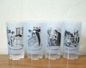 Vintage New Yorker Magazine Peter Arno Glasses Set of 4 Highball Mid Century Tumblers Barware Cocktail Glasses  Illustrator Cartoonist