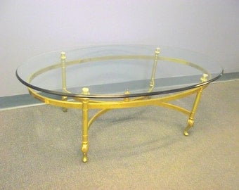 Maison Jansen Style Solid Brass Italian Coffee Table   Chippendale    Hollywood Regency   Beveled Glass