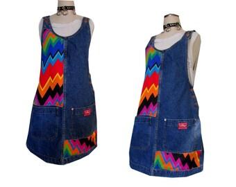Denim Zig Zag Patch DIY Rainbow Color Block Pocket Overall Mini Dress