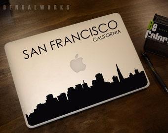 San Francisco Skyline Macbook Decal 4 | Macbook Sticker | Laptop Decal | Laptop Sticker | Car Sticker