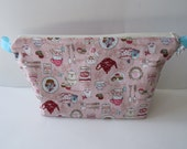 Large Wedge Project Bag || Afternoon Tea Themed Japanese Print Project Bag for Knitters, Crocheters, or Needleworkers