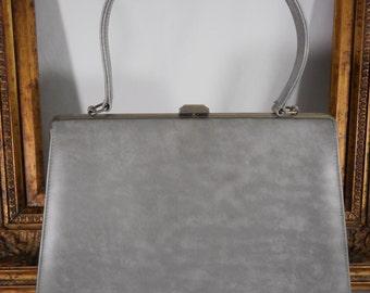 Vintage 1960's Grey Mottled Vinyl Handbag