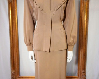 Vintage 1950's I. Magnin Beige Suit - Size 6
