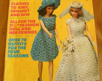 "Vintage 60's Barbie Knittng Crochet Pattern Book By Mccalls for 11 1/2"" Fashion Doll Over 70 Madmen Kitsch Wardrobe Outfits Accessories"