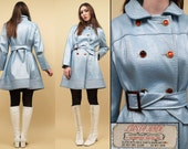 50s 60s Baby Blue 'Lusta-Hyde' VINYL Rubber Trench SPY Jacket / Incredibly rare GLAM Mod Double Breasted Collared Pea Coat / As-is Med Lrg