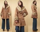 60s 70s Vtg Nude WOOL + Faux SHEARLING Fur SPY Trench Jacket / Mod Pea Coat Hippie Shaggy Collar + Cuff Boho Winter Fall / Medium Large